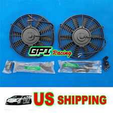"""2X12V 12"""" Slim Radiator Cooling Thermo Electric Fan&Mounting kit Most JAPAN CARS"""