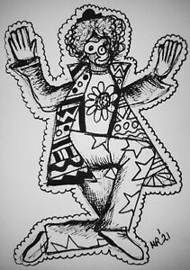 DAILY SKETCH Original Ink Drawing 'Richie The Clown' by Michelle Ranson