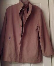 Men's Polo jacket, removable lining, tan color beige polo, size L, EUC