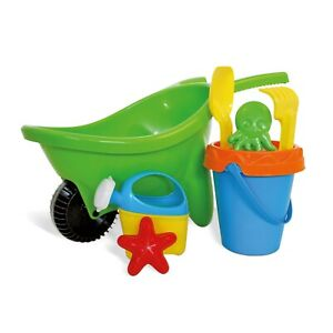 Kids Plastic Wheelbarrow Beach Bucket & Toy Set Sandbox Summer Outdoor Garden