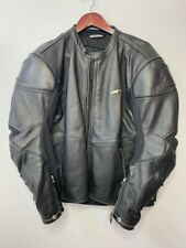 Alpinestars Mens Biker Motorcycle Jacket Black Lined Collared Leather Zip XL