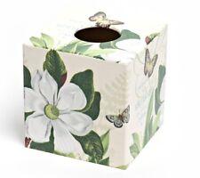 Magnolia Flower Tissue Box Cover wooden handmade in UK