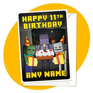 Monsters - PERSONALISED BIRTHDAY CARD - minecraft gamer personalized enderman