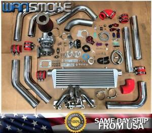 Red 79-93 Mustang 2.3L Thunderbird Ranger T3 .63 Turbo Kit Manifold Intercooler