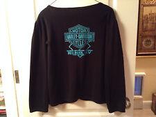 Harley Davidson RENO NEVADA knit  button up sweater cardigan jacket Black sz L