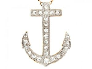 14k Two Tone Real Gold White CZ Anchor Nautical 2.4cm Slide Pendant