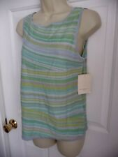Susan Bristol Top M NWT $59 Sleeveless Scoop Neckline Striped Green Toned