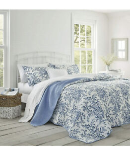 NWT Laura Ashley Bedford Blue Floral Twin Quilt Set 2pc