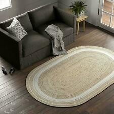 Rug 100% Natural Jute 8x11 Feet Handmade Oval Rustic look Rug Braided style Rugs