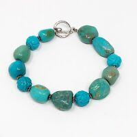 VTG Turquoise & Blue Bead Bracelet 925 Sterling Silver Toggle Closure Southwest