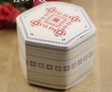 5x Hexagonal Vintage Snowflakes Kraft Gift Box Cookies Handmade Soap Box Party