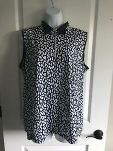 womens navy blue LADY HAGEN sleeveless golf shirt 1/2 zip size XL