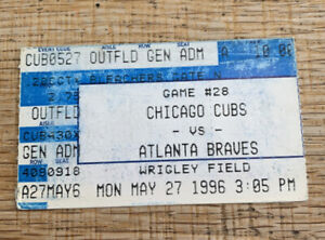 1996 Chicago Cubs v Atlanta Braves Ticket Stub Wrigley Field 5/27/96