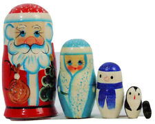 5pcs Hand Painted Russian Nesting Doll of Santa & Friends ( 4.5 inches tall)