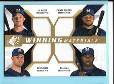 2009 SPX Winning Materials Hardy/Ben Sheets/Prince Fielder/Hall Jersey Brewers