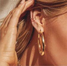 50 MM Big Gold Hoops Earrings Minimalist Thick Tube Round Circle Rings Earrings