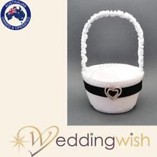 Black and White Flowergirl Basket, Wedding Flower Girl Basket with Heart