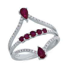 1.01 TCW 14K White Gold Natural Pear Round Red Ruby Gemstone Diamond Ring