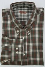 Barbour Shirt Medium Brown Plaid Tartan Brown Green Multicolor Mens Size Cotton