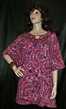 NWT CATHERINES RED WHITE BLUE PAISLEY MEGA EXTRA LONG 3X  TOP FS