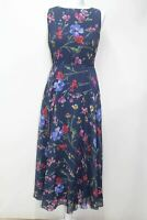 HOBBS Carly Dress Navy Blue Ladies Sleeveless Flower Shift Midi UK10 NEW