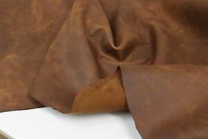 CRAZY HORSE BROWN DISTRESSED LEATHER HIDE Thickness 1.6 mm/ 4 oz - 18 SqFt