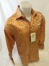 Mens MANZINI Button Down Dress Shirt Woven ORANGE PAISLEY Designer FRENCH CUFFS