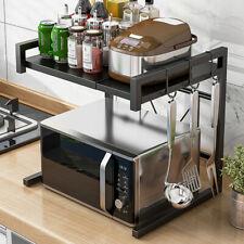 2 Tier Microwave Oven Rack Stand Shelf Kitchen Storage Organiser Adjustable USA