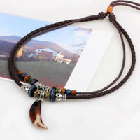 Unisex Boho Wolf Dog Tooth Pendant Men Necklace Wooden Beaded Leather Weaved aa