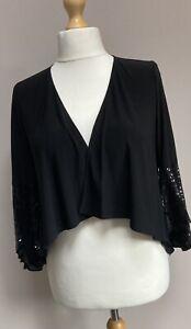 Lauren Ralph Lauren Sequin Embellished Cardigan In Black Size Small BNWT