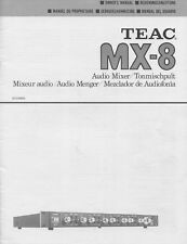 Teac MX-8 Original Audio Mixer Owners Manual Eng, Fren, German, Spanish, Dutch