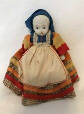 Vintage Bisque Girl Doll in Native Costume 5.75 inch long dress 1930s?