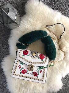Ladies Tiger Embroidery Metal Stub Chain Fur Handbag Shoulder Messenger Tote UK