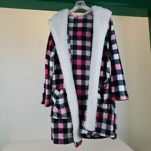 Jenni Intimates Women Robe Size Small Pink Plaid Flannel Faux Fleece Snuggly