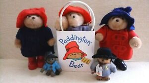 Vintage Lot of 5 PADDINGTON BEARs toy figure With bag Eden Toys 1987