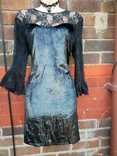 Zara Black Lace velvet Sheer Dress L UK  12 14 Goth steampunk Net Sheer Frill
