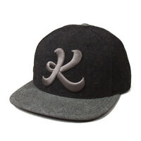 King Icon Black Charcoal Wool Snapback Flat Peak Baseball Hat Cap