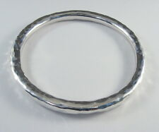 """925 sterling silver extra larg size hollow tube bangle hammered finish 1/4"""" wide"""
