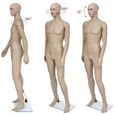 Adjustable Full Body Male Man Mannequin Realistic Shop Display Head Turns w/Base