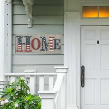 """Glitzhome 36""""L Metal Wooden Patriotic Home Wall Hanging Sign July 4th Home Decor"""