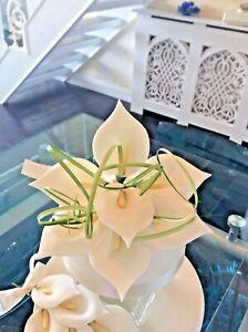 WEDDING CAKE SUGAR FLOWER DECORATION TOPPER IN WHITE,