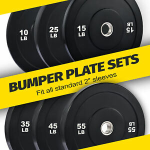 Olympic Bumper Plate Sets of Twin 2 Inch Rubber Weight Plates from 10lb ~ 55lb