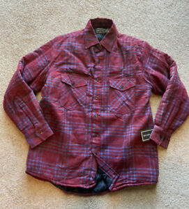 VTG NEW David Taylor Quilted Lined Flannel Button Shirt Jacket Red Gray Mens M