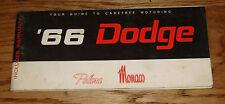 Original 1966 Dodge Polara Monaco Owners Operators Manual Instructions 66
