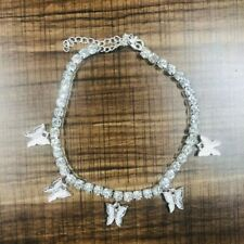 Glam Crystal Butterfly Charm Anklet Tennis Rhinestone Dainty Summer Style Anklet