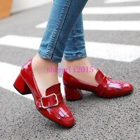 Women Fashion Pumps Patent Leather Tassels Slip On Retro Block chunky Heel shoes