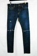 97529c8e2b0 SAINT LAURENT PARIS Men Skinny Slim D02 Jeans 30 31 32 Blue Destroyed Blown  Knee