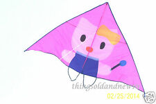 "Pink ""Hello Kitty"" Delta Kite:77"" W X 45.5""H w/Tail: Family,Fun, Beach,Wind Toy"