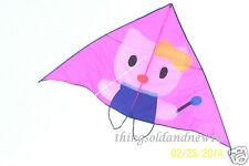 """Pink """"Hello Kitty"""" Delta Kite:77"""" W X 45.5""""H w/Tail: Family,Fun, Beach,Wind Toy"""