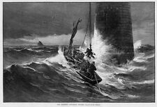 LIGHTHOUSE KEEPERS CHRISTMAS DINNER ROWING STORMY SURF WAVES NAUTICAL LIGHTHOUSE